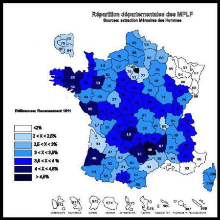 """La répartition des morts pour la France selon le recencement de 1911 effectuée par le forum """"pages14-18""""."""