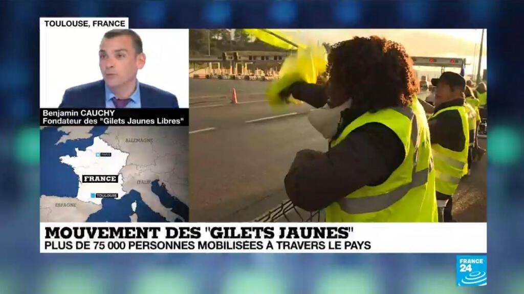 """Benjamin Gauchy, fondateur à Toulouse, des """"gilets jaunes libres"""" rejette les violences et appelle l'exécutif au dialogue."""