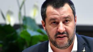 Le ministre de l'Intèrieur italien, Matteo Salvini, durant une conférence de presse à Rome, le 7 janvier 2019.