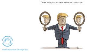 """""""Trump introduces its two best advisors"""" (Trump présente ses deux meilleurs conseillers)."""