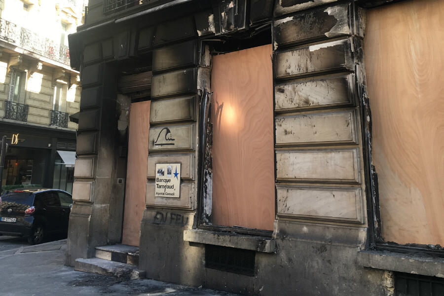 The Tarnaud bank was set on fire during 'Act 18' of the Yellow Vest protests. Photo: Louise Nordstrom, FRANCE 24