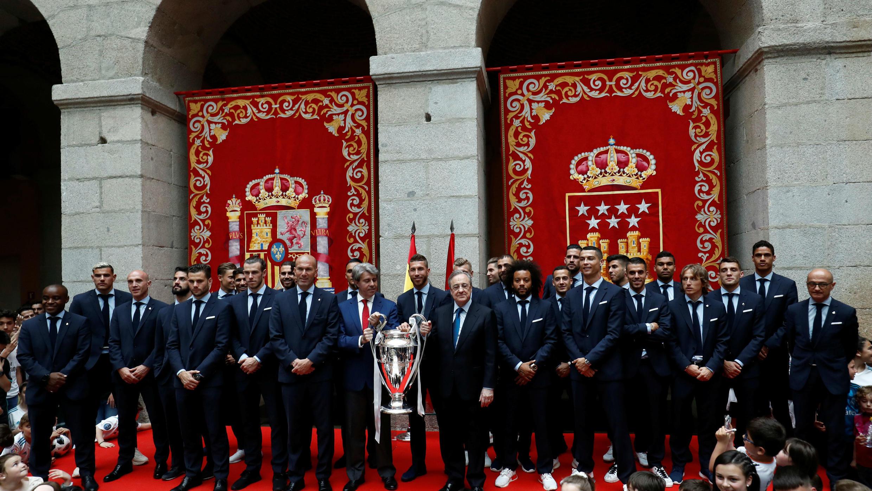 Real Madrid celebra ganar la Final de la Champions League en Madrid, España el 27 de mayo de 2018
