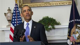 """Barack Obama a salué les """"progrès historiques""""  de Washington et Téhéran , le 17 janvier 2016."""