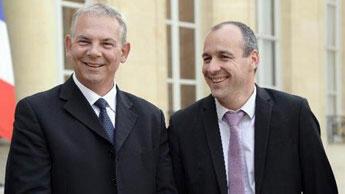 Les dirigeants de la CFDT, Laurent Berger (droite), et de la CGT, Thierry Lepaon au palais de l'Élysée le 19 juin 2013.