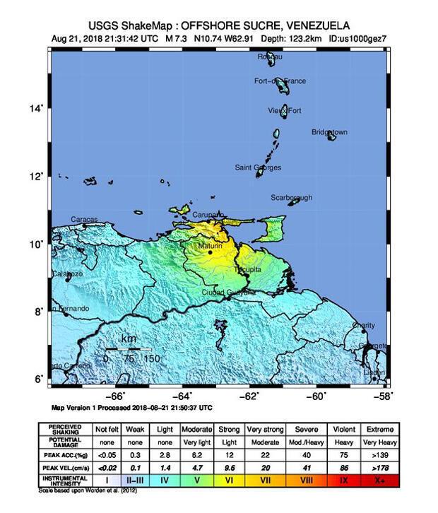 Intensidad del sismo en Venezuela según el USGS
