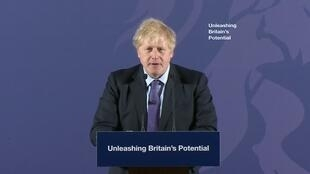 British Prime Minister Boris Johnson delivering an address in London on February 3, 2020.