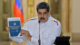 In this photo released by the Venezuelan Presidency, Nicolas Maduro speaks during a televised address on May 9, 2020 to announce new arrests related to an alleged bid to topple him