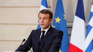 French President Emmanuel Macron at a press conference with Greek Prime Minister Kyriakos Mitsotakis (not pictured) in the Elysee Palace in Paris, France January 29, 2020.