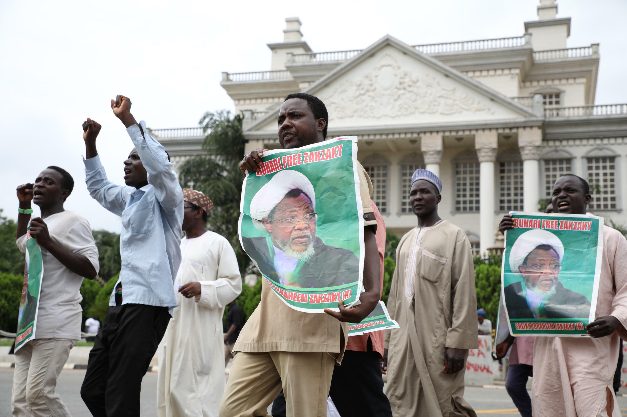 Hundreds of supporters of Shiite Muslim leader Ibrahim Zakzaky demonstrate in Abuja, on July 10, 2019, to demand his release