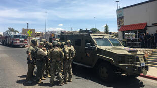 Intervention de police aux abords du centre commercial Cielo Vista, à ElPaso(Texas), le 3août2019.