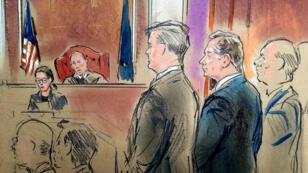 Esbozo de la sala de la Corte cuando el exdirector de campaña del presidente estadounidense Donald Trump, Paul Manafort , compareció ante el juez TS Ellis y fue declarado culpable de 8 de los 18 cargos a los que se enfrentaba en un caso de fraude bancario en el Tribunal de Distrito de EE. UU. en Alexandria, Virginia, EE.UU. , 2018.
