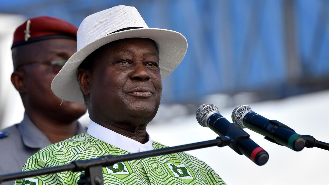L'ancien président ivoirien Henri Konan Bedié photographié lors d'un rassemblement du PDCI, le 19 octobre 2019, à Yamoussoukro, dans le centre du pays.