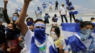 Opposition activists demonstrated against Nicaraguan President Daniel Ortega in Managua in April