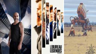 """Les affiches des séries """"Dérapages"""", """"Le Bureau des légendes"""" et """"Tales from the Loop""""."""