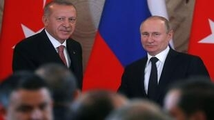 الرئيس الروسي فلاديمير بوتين والرئيس التركي رجب طيب أردوغان في اجتماع بالكرملين، روسيا 8 أبريل/نيسان 2019