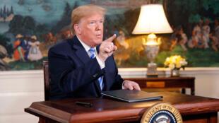 El presidente de EE. UU., Donald Trump, habla después de anunciar su intención de retirarse del acuerdo nuclear Irán en la Sala Diplomática en la Casa Blanca en Washington, EE.UU., 8 de mayo de 2018.