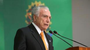 Le président brésilien Michel Temer lors d'une allocution télévisée le 28 août 2018.