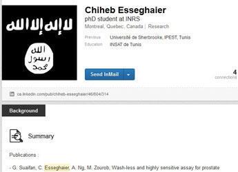 Capture d'écran du profil Linkedin de Chiheb Esseghaier, le suspect de Montréal.