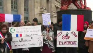 Según un instituto de recuento de medios de comunicación, 13500 personas se reunieron en París para la marcha contra la islamofobia.