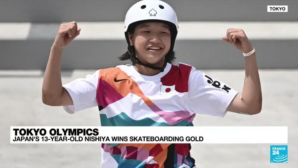 2021-07-26 12:09 Japan's Nishiya, 13, first women's Olympic skateboard champion