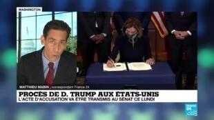2021-01-25 18:01 Procès de Donald Trump aux États-Unis : l'acte d'accusation va être transmis au Sénat