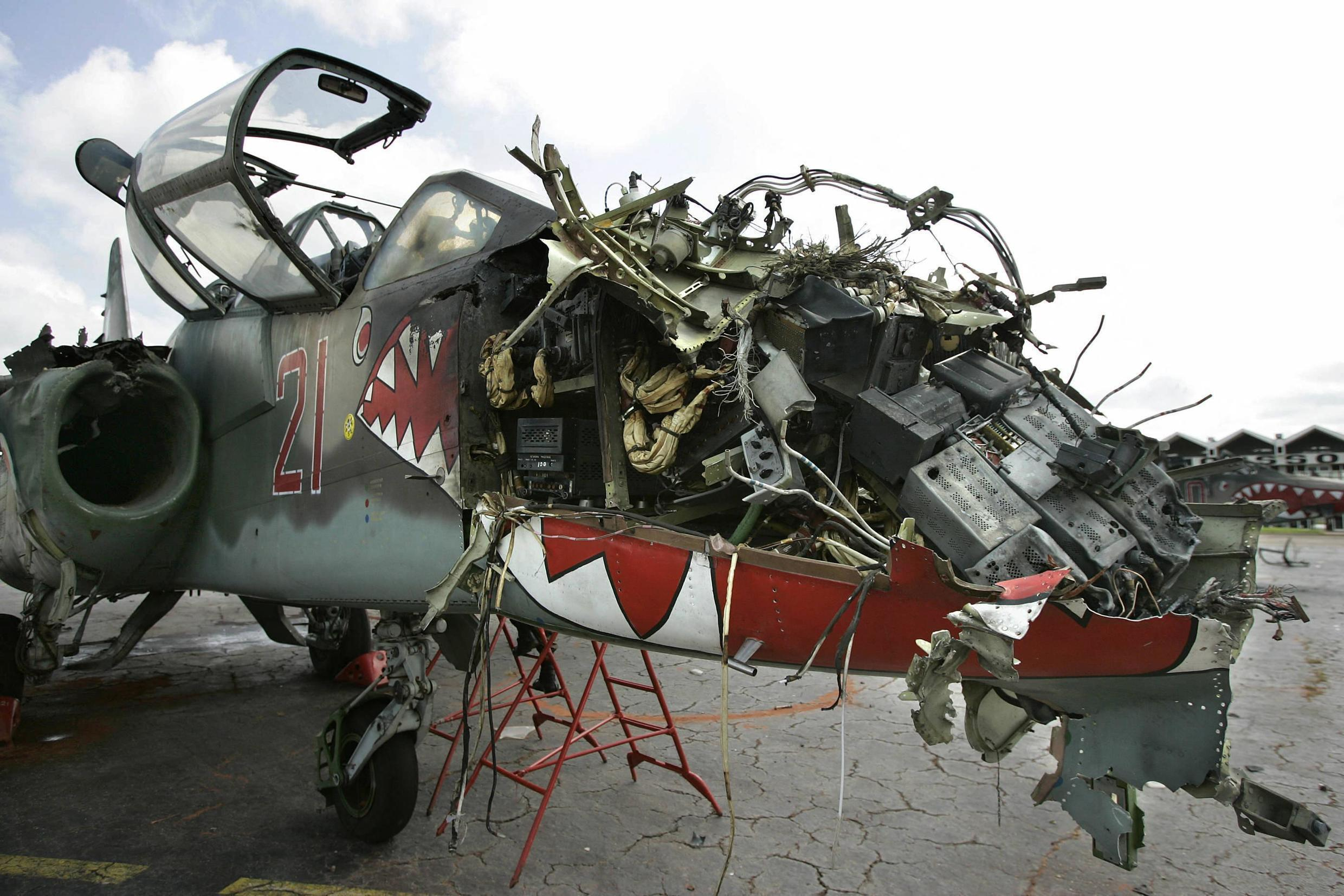 A Russian-made Sukhoi-25 jet after it was hit by a retaliatory French strike in the wake of the Bouaké bombing.