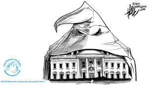 Le dessinateur américain Ed Hall représente la Maison Blanche recouverte d'une cagoule à bout pointu du KuKluxKlan.