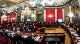 Vista general de la sala del Tribunal Supremo en el primer día del juicio a los líderes independentistas catalanes en Madrid, el 12 de febrero de 2019.
