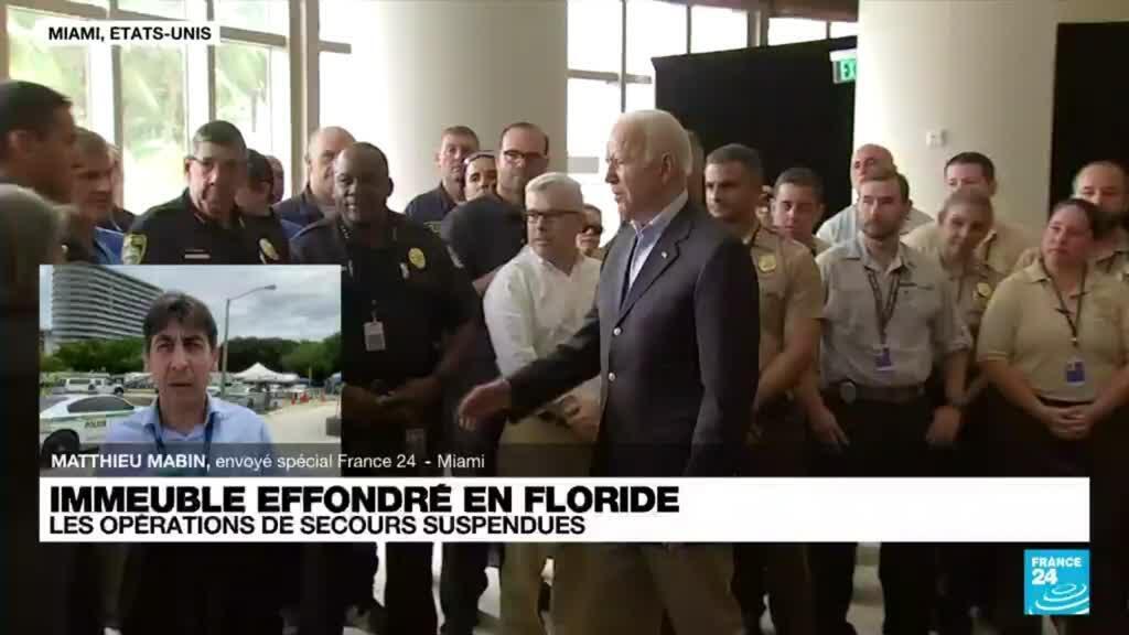 2021-07-01 18:08 Immeuble effondré en Floride : Joe Biden sur place, les opérations de secours suspendues