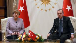 Angela Merkel et Recep Tayyip Erdogan, à Ankara, le 2 février 2017.