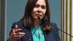 La canciller boliviana, Karen Longaric, en rueda de prensa en La Paz el 16 de enero de 2020