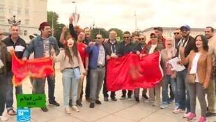 مشجعو المنتخب المغربي بروسيا قبل مباراة إسبانيا
