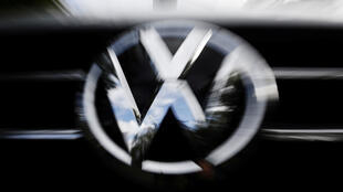 The VW logo seen at the site of the first hearing of a consumer group's class action suit on behalf of Volkswagen owners against VW over the diesel emissions cheating scandal, at the Higher Regional Court in Braunschweig, Germany, on September 30, 2019.