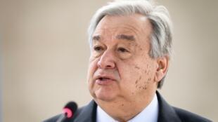 الأمين العام للأمم المتحدة أنطونيو غوتيريش في جنيف في 25 شباط/فبراير 2019