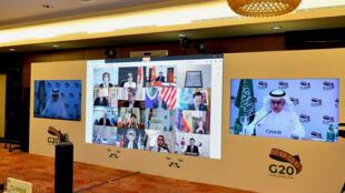صورة وزعها المكتب الإعلامي لمجموعة العشرين في 21 نيسان/ابريل 2020 لقاعة الإعلام في الرياض
