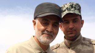 Chef de la Force Al Qods des Gardiens de la révolution, Qassem Soleimani, lors d'une offensive contre l'organisation État islamique, dans la province irakienne de Salah ad-Din, le 8 mars 2015.