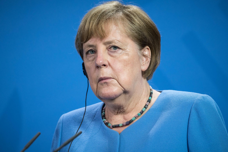 La chancelière allemande Angela Merkel, lors d'une conférence de presse commune à Berlin avec son homologue ukrainien, le 12 juillet 2021