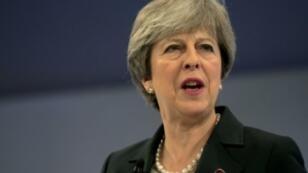 رئيسة الوزراء البريطانية تيريزا ماي في المؤتمر السنوي لاتحاد الصناعة البريطانية 6 تشرين الثاني/نوفمبر 2017