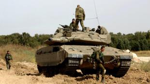 Un char israélien posté près de la frontière avec la bande de Gaza, photographié en mai 2016.