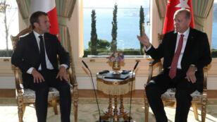 الرئيسان التركي رجب طيب أردوغان والفرنسي إيمانويل ماكرون في إسطنبول 2018/10/27