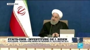2021-01-20 12:05 Etats-Unis - Iran : Hassan Rohani prie Joe Biden de revenir à l'accord de 2015 sur le nucléaire