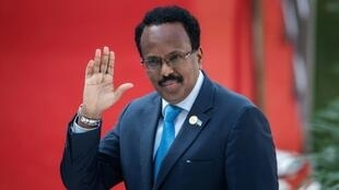 الرئيس الصومالي محمد عبد الله محمد في بريتوريا بجنوب إفريقيا في 25 أيار/مايو 2019