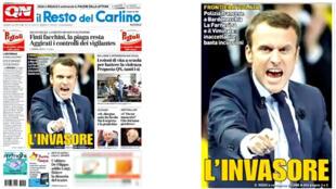"""L'envahisseur"", titre Il Resto del Carlino, l'un des plus anciens quotidiens italiens."