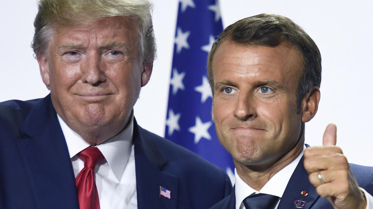 Emmanuel Macron et Donald Trump lors de leur conférence de presse commune en clôture du sommet du G7 à Biarritz, le 26 août 2019.