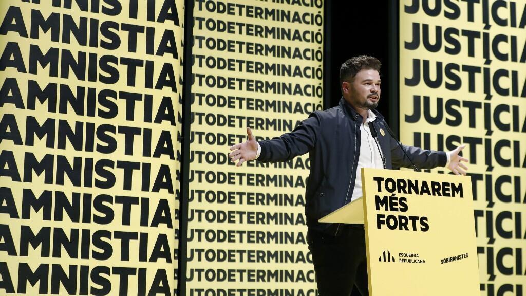 El cabeza de lista al Congreso por ERC, Gabriel Rufián, durante el acto de inicio de campaña para las elecciones generales que su partido celebra en Barcelona el 31 de octubre del 2019.