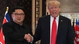 دونالد ترامب وكيم جونغ أون في القمة التاريخية التي جمعتهما في سنغافورة