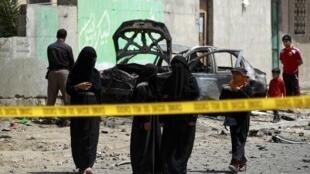 موقع أحد التفجيرات الليلية في صنعاء 18 يونيو 2015