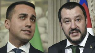 """زعيما حزب """"الرابطة"""" اليميني المتطرف ماتيو سالفيني وحركة """"خمس نجوم"""" الشعبوية لويجي دي مايو."""