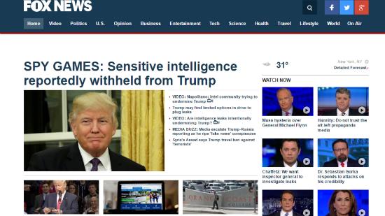 L'écrasante majorité des articles sur le site de Fox News défendent une thèse principale : il y a une hystérie médiatique nourrie par les services de renseignement contre l'administration Trump