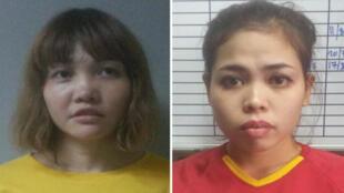 Doan Thi Huong (à gauche) et Siti Aisyah ont été inculpées pour l'assassinat de Kim Jong-nam, le 28 février 2017.